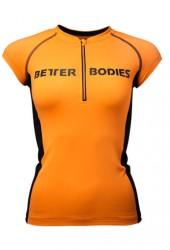 Better Bodies Zipped Tee - Orange/Black