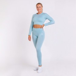 BM Seamless Ribbed High Waist Tights & Seamless Ribbed Long Sleeve Cropped Top Sky Blue