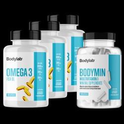 Bodylab Omega 3 (3 x 120 stk) + Bodymin (240 stk)