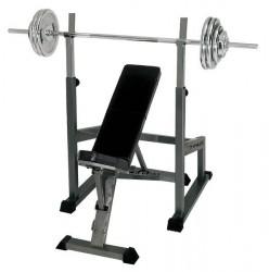 Finnlo skråbænk + træningsstation + 75 kg vægtstangssæt
