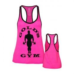 Golds Gym Ladies Silhouette Stringer - Neon Pink/Black