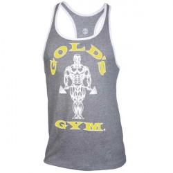 Golds Gym Muscle Joe Contrast Stringer Grey/White