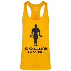 Gold's Gym Muscle Joe Slogan Premium Tank Gold