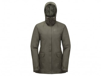 Jack Wolfskin Kiruna Trail JKT Women - Vandtæt damejakke m. for - Grå - Str. XL
