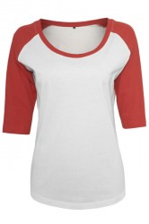 Ladies 3/4 Contrast Raglan Tee wht/red