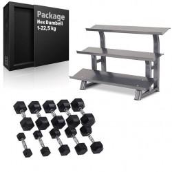 Paket Hantlar Gummi/Krom Hex 1-22,5 kg