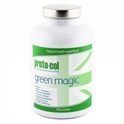 proto-col Green Magic Pulver - Superfood Pulver - 200g- 100 % Naturligt Produkt - For Udrensning Af Kroppen - Med 16 Superfoods