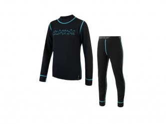Sensor Double Face Kids Set- Skiundertøj Børn - Sort - Str. 90