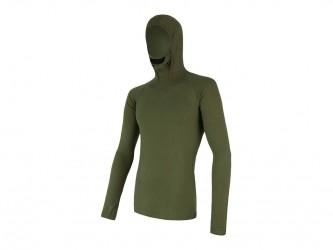 Sensor Merino DF Tee LS Hood - Uldundertrøje m. hætte- Herre - Grøn - Str. M