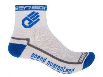Sensor Race lite - Cykelstrømper - Hvid/blå - Str. 6-8 / 39-42