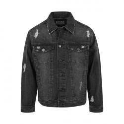Urban Classics Ripped Denim Jacket Black
