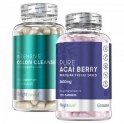 WeightWorld Acai Pure & Colon Cleanse - Effektiv detox kur - Naturligt Kosttilskud - Udrenser og hjælper mod stress - 449 kr. -