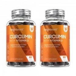 WeightWorld Curcumin - Naturligt Tilskud med D-vitamin - Spar 10 % - 120 Kapsler - Premium Ingrediensliste - Høj Kvalitet - Curc