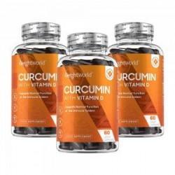 WeightWorld Curcumin - Spar 15 % - 180 Kapsler - Beriget Med D-Vitamin - 3 Måneders Forbrug - Sunde Muskler & Led - Naturligt Ek