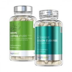 WeightWorld Detox Kit Pakke - Green Coffee Kapsler + Colon Cleanse - Udrensning -100 % naturlige og virksomme ingredienser - nat