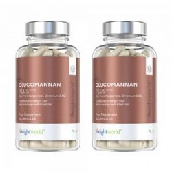WeightWorld Glucomannan Plus - 2x60 Glucomannan Kapsler - 3000 mg - Vitamin B6 & Chrome - Vægtkontrol - Vandopløseligt Fibertils