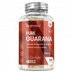 WeightWorld Pure Guarana Piller - 90 Guarana Kapsler - Superfood Tilskud For Energi & Motivation - Markedsledende Styrke På 120