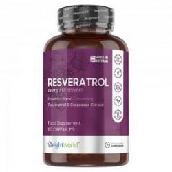 WeightWorld Resveratrol Piller - Resveratrol Køb - Resveratrol Kosttilskud - Rødvinsekstrakt Kosttilskud - 250mg Kraftig Styrke